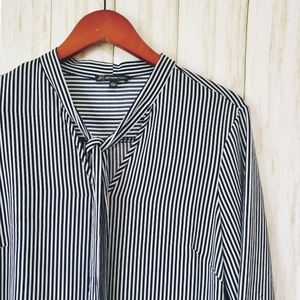 Adrianna Papell, striped, neck-tie blouse,